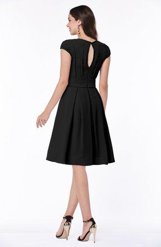 Black Elegant Jewel Chiffon Knee Length Sash Plus Size Bridesmaid