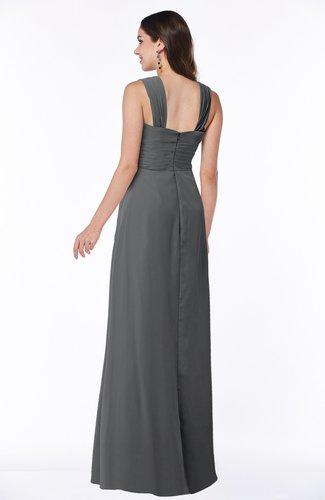 Grey Traditional V Neck Zipper Chiffon Sash Plus Size Bridesmaid