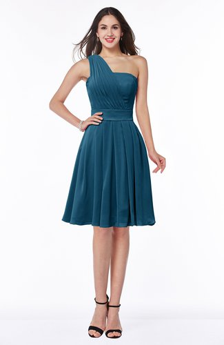 Simple Sleeveless Zip up Knee Length Ribbon Bridesmaid Dresses
