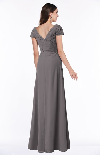 Ridge Grey Modest Short Sleeve Chiffon Floor Length Ruching Plus