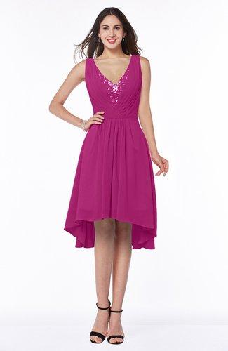 Hot Pink Elegant A Line Sleeveless Zip Up Rhinestone Plus Size