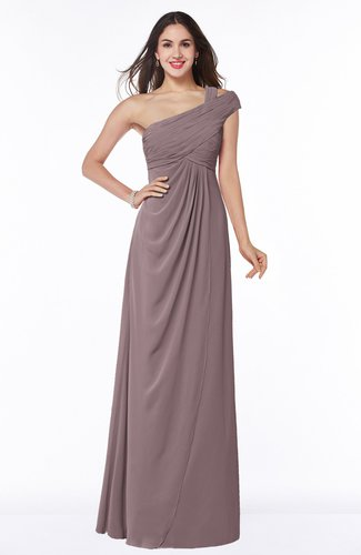 Elegant One Shoulder Chiffon Floor Length Ruching Plus Size Bridesmaid Dresses