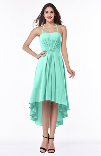 Casual A-line Sleeveless Zip up Chiffon Asymmetric Plus Size Bridesmaid Dresses