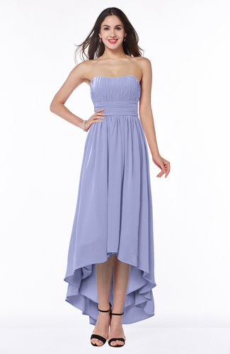 Romantic A-line Strapless Sleeveless Zipper Hi-Lo Plus Size Bridesmaid Dresses