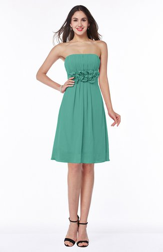 Mint Green Cute A Line Half Backless Chiffon Knee Length Plus Size