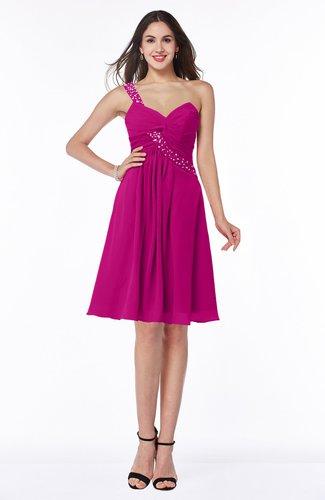 Hot Pink Informal Asymmetric Neckline Sleeveless Zipper Chiffon