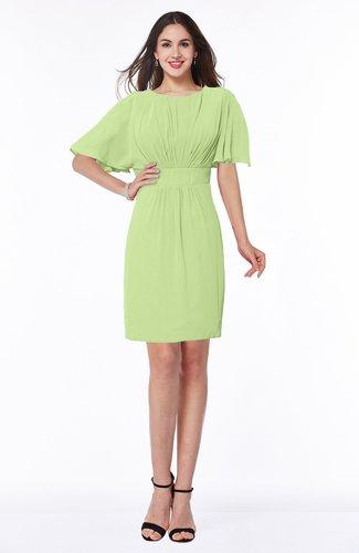 Modest Sheath Zip up Chiffon Short Plus Size Bridesmaid Dresses