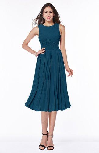 Modern A-line V-neck Sleeveless Tea Length Pleated Plus Size Bridesmaid Dresses