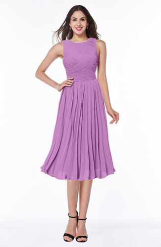 Modern A-line V-neck Sleeveless Tea Length Pleated Plus Size Bridesmaid Dresses