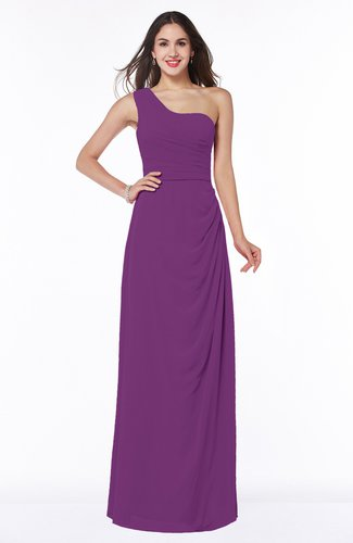 Simple A-line Half Backless Chiffon Floor Length Draped Plus Size Bridesmaid Dresses