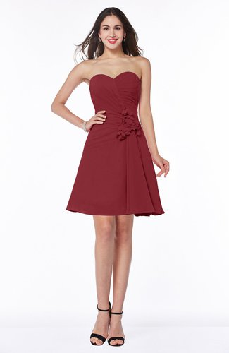 Dark Red Elegant A Line Strapless Sleeveless Chiffon Mini Plus Size