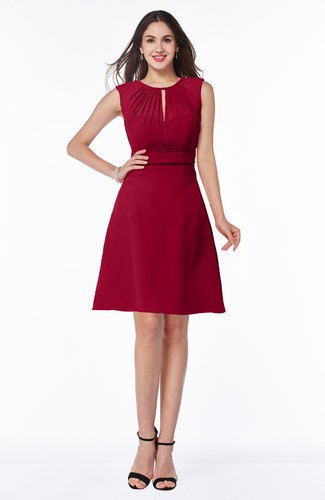Dark Red Classic A Line Sleeveless Zipper Chiffon Ribbon Plus Size