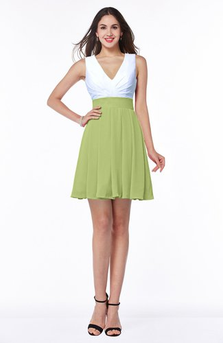 Lime Green Casual A Line Sleeveless Zip Up Pleated Plus Size