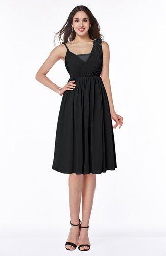 Black Modern Thick Straps Sleeveless Chiffon Knee Length Ruching