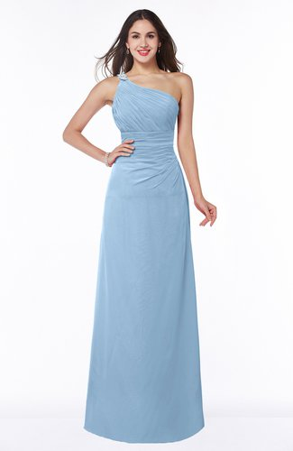 Modern One Shoulder Sleeveless Half Backless Chiffon Ruching Plus Size Bridesmaid Dresses