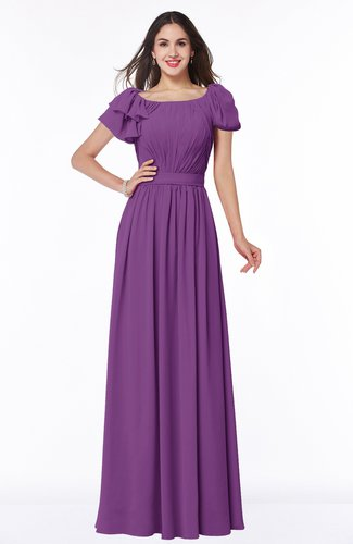 Elegant Scoop Short Sleeve Zip up Chiffon Plus Size Bridesmaid Dresses