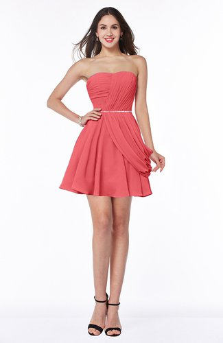 Coral Elegant A Line Sleeveless Zipper Short Ribbon Plus Size