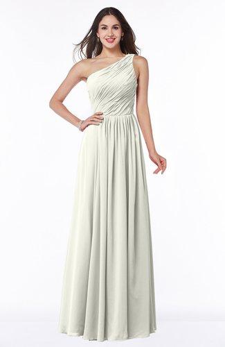 Cream Elegant A-line Sleeveless Chiffon Floor Length Ruching Plus ...