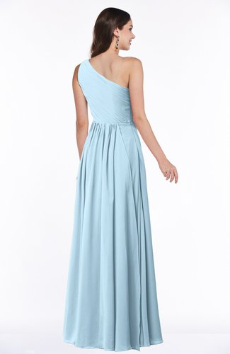 Ice Blue Elegant A-line Sleeveless Chiffon Floor Length Ruching Plus ...