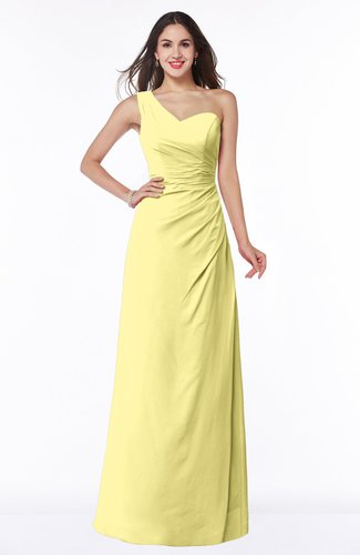 Sexy A-line Asymmetric Neckline Half Backless Chiffon Floor Length Plus Size Bridesmaid Dresses