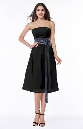 Romantic A-line Strapless Sleeveless Tea Length Plus Size Bridesmaid Dresses