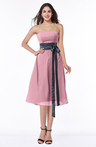 Romantic A-line Strapless Sleeveless Tea Length Plus Size Bridesmaid Dresses