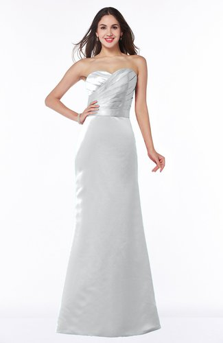 Elegant Column Strapless Sleeveless Zipper Ruching Bridesmaid Dresses