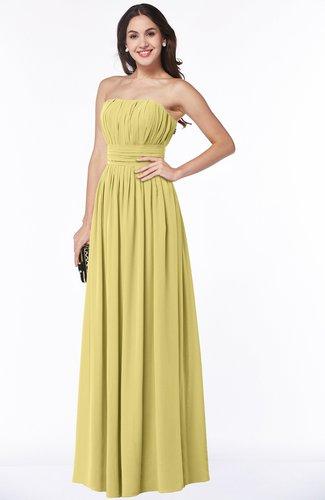 Mature A-line Strapless Chiffon Floor Length Plus Size Bridesmaid Dresses