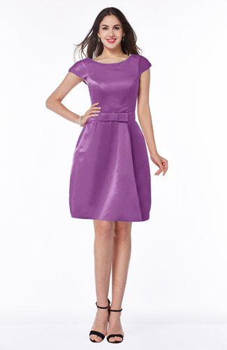 Modest Baby Doll Scoop Zip up Bow Plus Size Bridesmaid Dresses