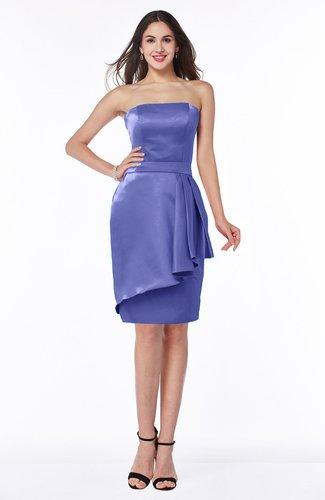 Purple Classic Strapless Zip Up Satin Ribbon Plus Size Bridesmaid