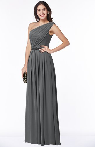 Traditional Asymmetric Neckline Sleeveless Zip up Chiffon Floor Length Plus Size Bridesmaid Dresses