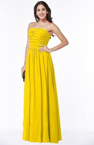 Yellow Classic Sleeveless Zipper Floor Length Ruching Plus Size