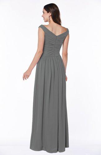 Grey Elegant A Line Scoop Zip Up Chiffon Floor Length Plus Size