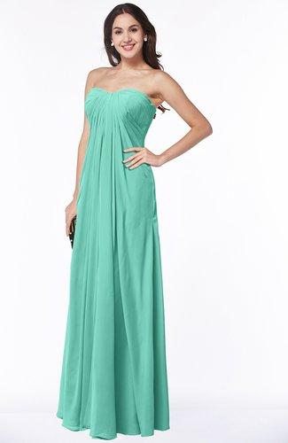 Mint Green Elegant Empire Sweetheart Zip Up Chiffon Floor Length