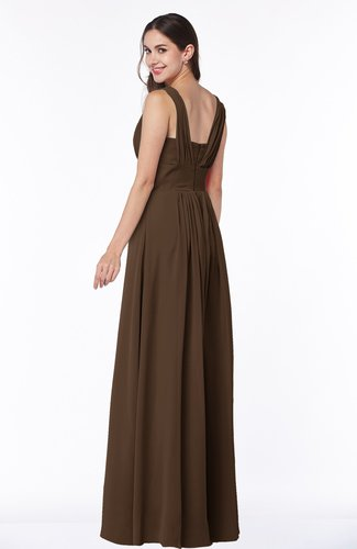 Chocolate Brown Simple A Line Sleeveless Zip Up Floor