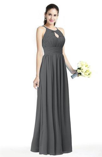 Plain A-line Jewel Sleeveless Zip up Floor Length Bridesmaid Dresses