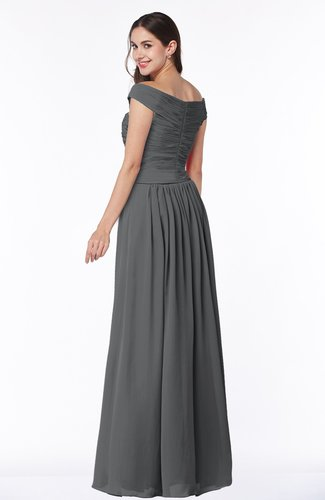 Grey Traditional A Line Sleeveless Chiffon Floor Length Plus Size
