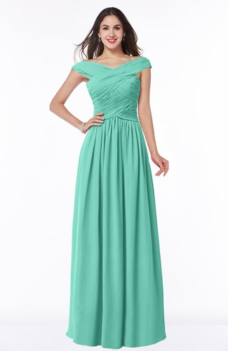 Mint Green Traditional A Line Sleeveless Chiffon Floor Length Plus