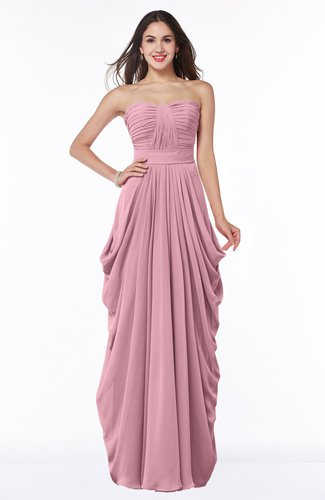 Cinderella Half Backless Chiffon Floor Length Ruching Plus Size Bridesmaid Dresses