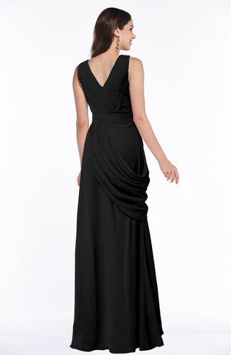 Black Mature A Line V Neck Chiffon Pleated Plus Size Bridesmaid