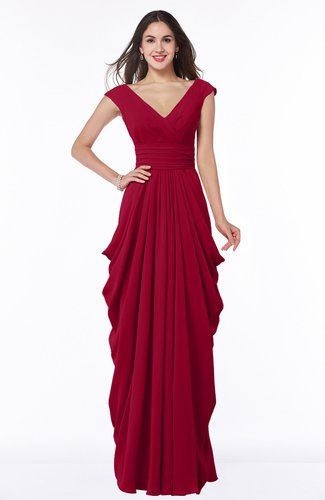Dark Red Mature Short Sleeve Chiffon Floor Length Pleated Plus Size