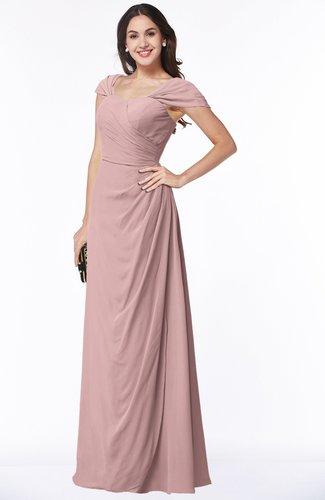 Silver Pink Mature A Line Sweetheart Short Sleeve Zip Up Floor