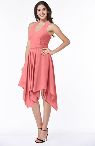 Coral Plain V Neck Sleeveless Half Backless Ribbon Plus Size