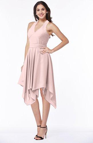 Pastel Pink Plain V Neck Sleeveless Half Backless Ribbon Plus Size
