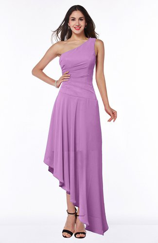 Simple Asymmetric Neckline Sleeveless Half Backless Chiffon Asymmetric Plus Size Bridesmaid Dresses