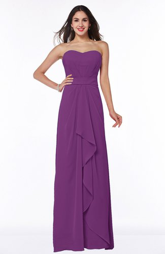 Traditional Strapless Zip up Chiffon Floor Length Plus Size Bridesmaid Dresses