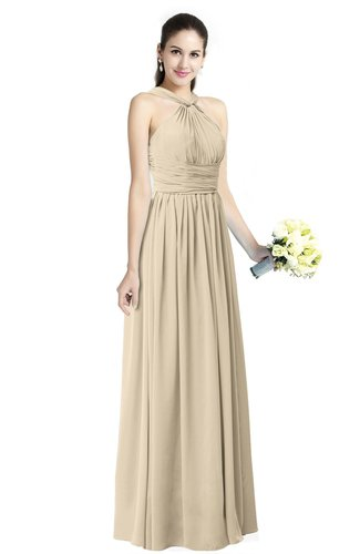 Traditional A-line Halter Criss-cross Straps Chiffon Bow Plus Size Bridesmaid Dresses