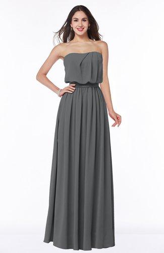 Romantic A-line Strapless Half Backless Chiffon Ribbon Plus Size Bridesmaid Dresses