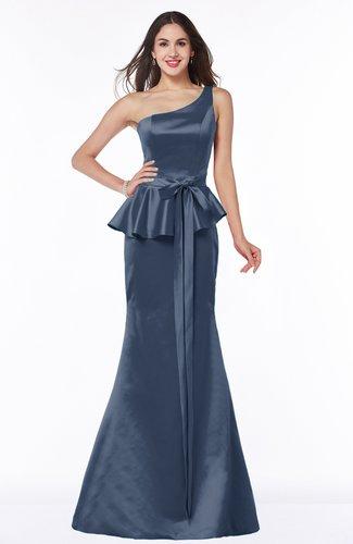 Navy Blue Elegant Asymmetric Neckline Sleeveless Zip Up Ribbon Plus