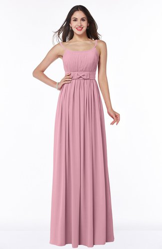 Modern A-line Spaghetti Zip up Floor Length Sash Plus Size Bridesmaid Dresses